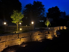 landscape lighting around flagstone and fire pit area