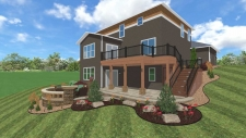 Brown house with back deck 3D design
