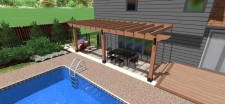 3D design of backyard with deck and a pool