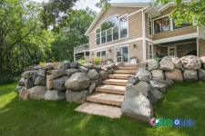 boulder retaining wall with steps