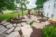 softscaping integrated with paver patio and stepping stones