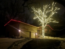 Lit up tree outside of house with red lights outlining roof