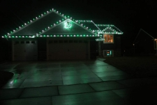Holiday Lights on front and ridge lines with wreath