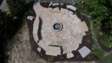 aerial view of flagstone firepit