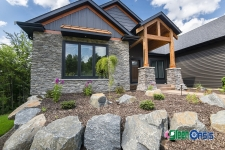front landscaping with boulders