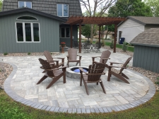 Fire pit paver patio with pergola