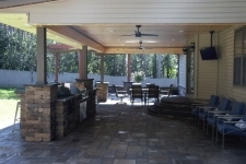 outdoor kitchen patio area underneath pavilion