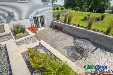 patio between two retaining walls