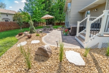 patio space with rock and edging