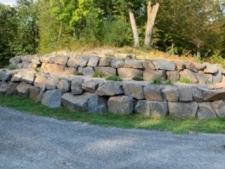 two tiered boulder retaining wall