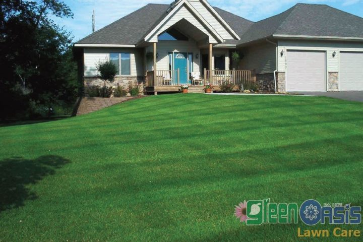 Residential home with bright green lawn